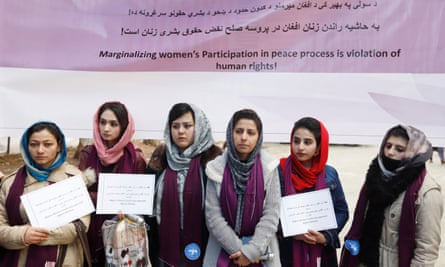 Afghan women at a gathering in Kabul on 14 February, at which they called for the US, the Afghan government and the Taliban not to marginalise Afghan women from the peace process