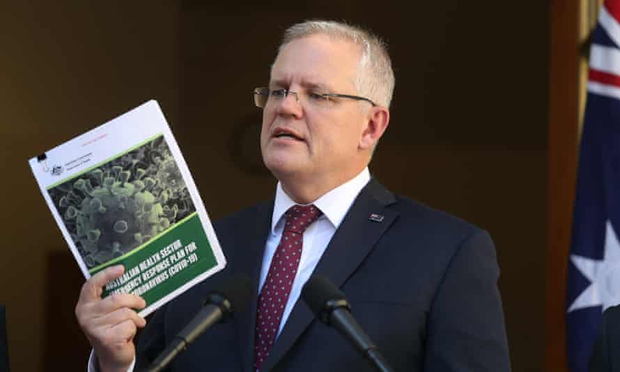 Australian prime minister Scott Morrison announces a health emergency response plan as government declares coronavirus will become a pandemic.
