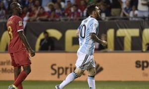 Messi celebrates his goal.