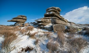 The Cheesewring rock formation on Bodmin Moor in the snow