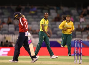 Ayabonga Khaka celebrates after taking the wicket of Dani Wyatt.
