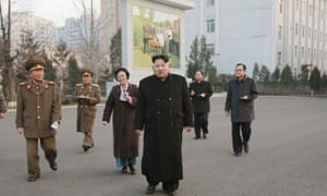 Kim Jong-un outside the Phyongchon Revolutionary Site.