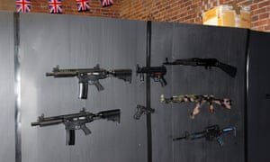 Weapons ready for private security training.