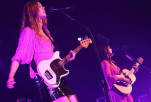 First Aid Kit perform at the Cambridge folk festival, Cherry Hinton Hall, 4 August 2018.