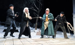 From left: Patrick Stewart, Ronald Pickup, Simon Callow and Ian McKellen in Waiting for Godot at the Theatre Royal Haymarket, London, in 2009.