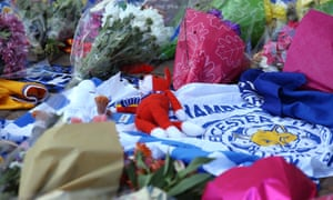 Flowers outside the King Power Stadium.