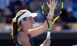 Johanna Konta celebrates during her third-round Australian Open victory over the former world No1 Caroline Wozniacki.