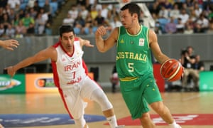 Jason Cadee of the Boomers under pressure from Aren Davoudichegani of Iran during their World Cup Asian Qualifiers match
