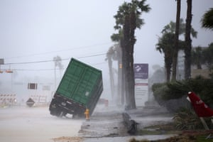 In a dramatic scene a power generator is tipped over by Hurricane Harvey in front of Texas's Christus Spohn Hospital on the Corpus Christi shoreline