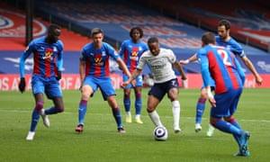 Raheem Sterling takes on half the Crystal Palace team.