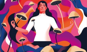 An illustration of a woman with long dark hair and a white jumper meditating, her eyes closed and a swirling multi-coloured background dotted with mushrooms