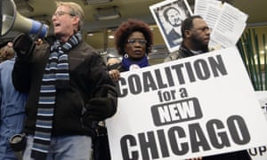 Protester demonstrate against Chicago police shootings last year.