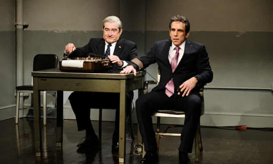 """Saturday Night Live - Season 43SATURDAY NIGHT LIVE -- Episode 1743 """"John Mulaney"""" -- Pictured: (l-r) Robert De Niro as Attorney Robert Muller, Ben Stiller as Attorney Michael Cohen during The Cold Open in Studio 8H on Saturday, April 14, 2018 -- (Photo by: Will Heath/NBC/NBCU Photo Bank via Getty Images)"""