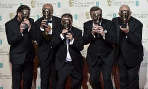 The sound engineers of The Revenant pose after winning their awards