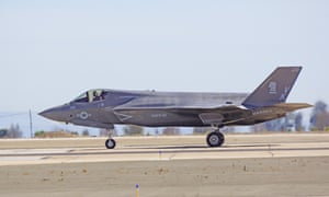 An F-35 with US marines logos at a US air show in 2014.
