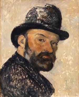 Self Portrait in a Bowler Hat (1885-86) by Paul Cézanne.