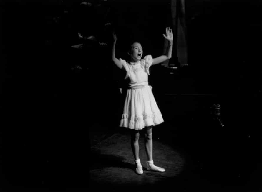 Julie Andrews on stage at the London Palladium in 1948 during a Royal Command Performance.