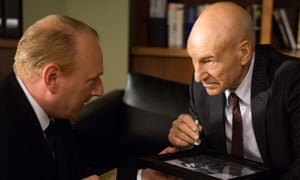 Learning his lines: Adrian Scarborough, left, as Harry, and Patrick Stewart as Walter Blunt, in a scene from season one of Blunt Talk.
