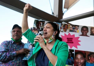 Representative Rashida Tlaib addresses a rally in Detroit, Michigan, on 6 June, protesting against racial inequality in the aftermath of George Floyd's death.
