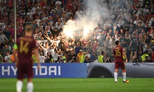 Russian supporters at the end of the match against England at Euro 2016. Supporters clashed before, during and after the game in Marseille.