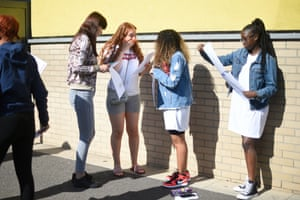 Daisy Satchell (third right) reacts with fellow students after opening her results at the City academy in Hackney
