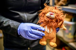 A stuffed lion carried by an unidentified migrant extracted from a box of their belongs att the Operation Identification facility. The team hopes that these items will later help identify these individuals.