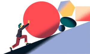Illustration of man pushing various shapes up a slope