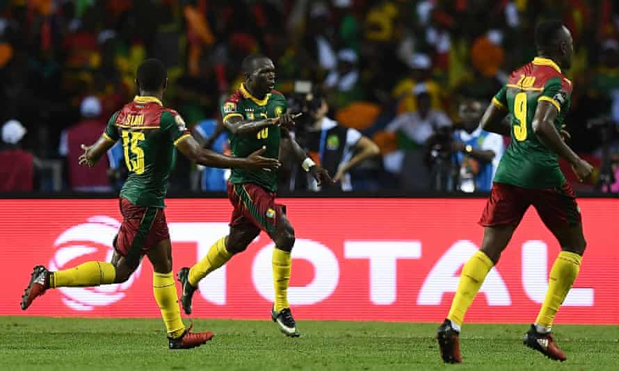 Cameroon's Vincent Aboubakar, centre, celebrates scoring the winning goal against Egypt in the Africa Cup of Nations final.