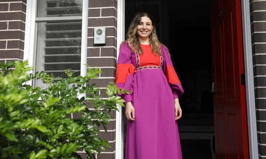Sarah Ayoub in the vintage Norman Hartnell dress she purchased secondhand.