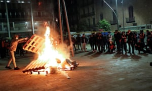 Part of the protest in Barcelona on Saturday.