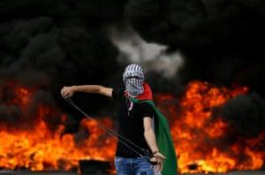 A Palestinian demonstrator