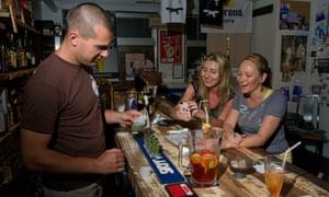 James Pankiewicz at the Dojo Bar, Naha City, Okinawa.