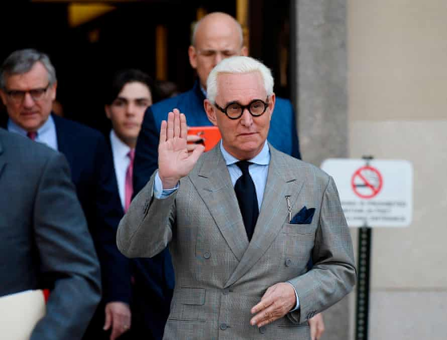 Roger Stone, former advisor to Donald Trump, waves as he leaves a court hearing in Washington DC in Marcy 2019.