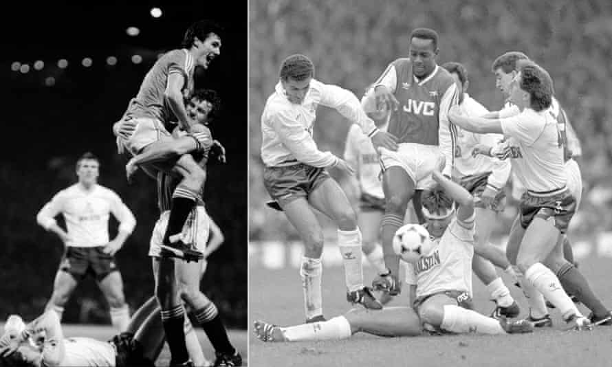 Spurs featured in both the first and last top-flight match on the BBC, their 4-2 defeat at Manchester United in December 1983 (left) and their 2-1 defeat at Arsenal at Highbury in 1988.