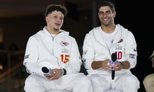 Patrick Mahomes chats with his opposite number, Jimmy Garoppolo, in the run up to Sunday's Super Bowl