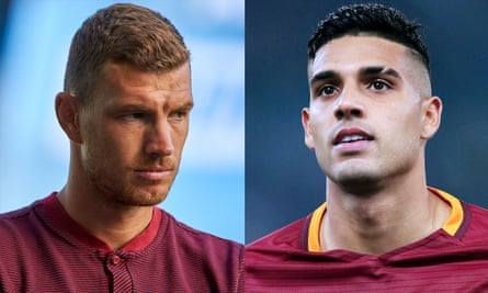 Edin Dzeko, left, is yet to agree to personal terms at Stamford Bridge