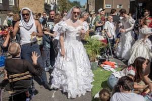 A royal wedding street party on Wilton Way in Hackney, London