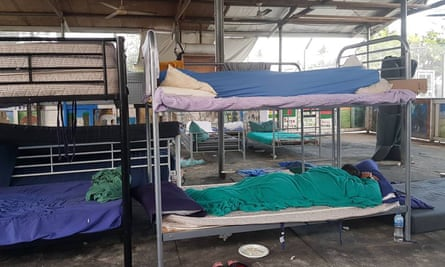 This photo taken by Behrouz Boochani on 3 November 2017 shows refugees and asylum-seekers sleeping in their bunk bends at the Manus Island camp in Papua New Guinea.