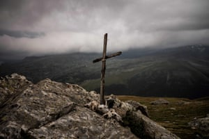 A wooden cross on the mountain
