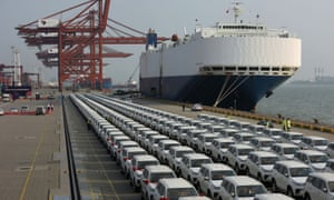 Imported Toyota cars arrive from a cargo vessel at the Shenzhen Dachan Bay Terminals in Guangdong province, China, last year.