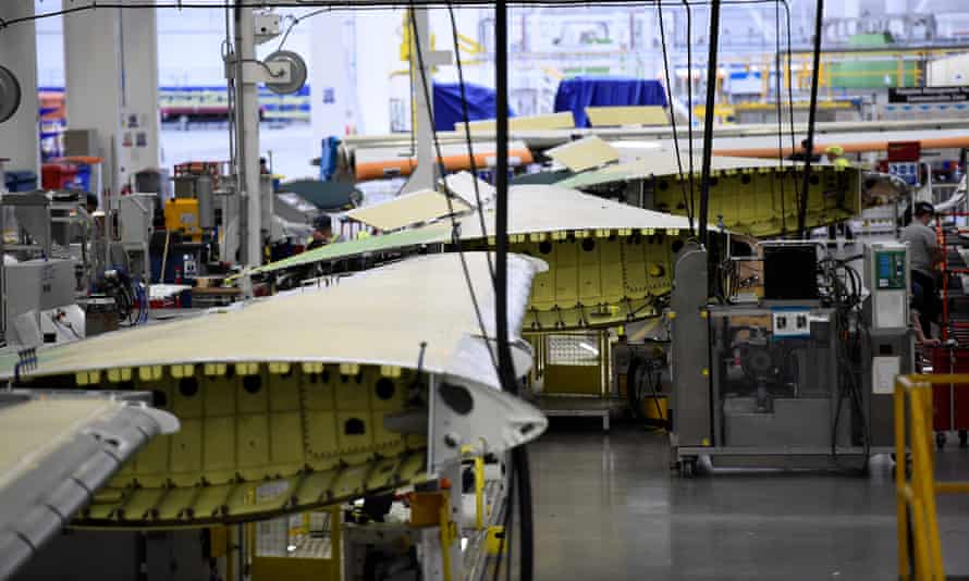 A C Series aeroplane wing in the Bombardier factory in Belfast.