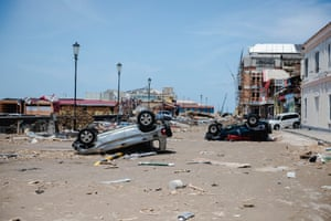 A street in the once-bustling capital lies empty and devastated four days after Maria made landfall