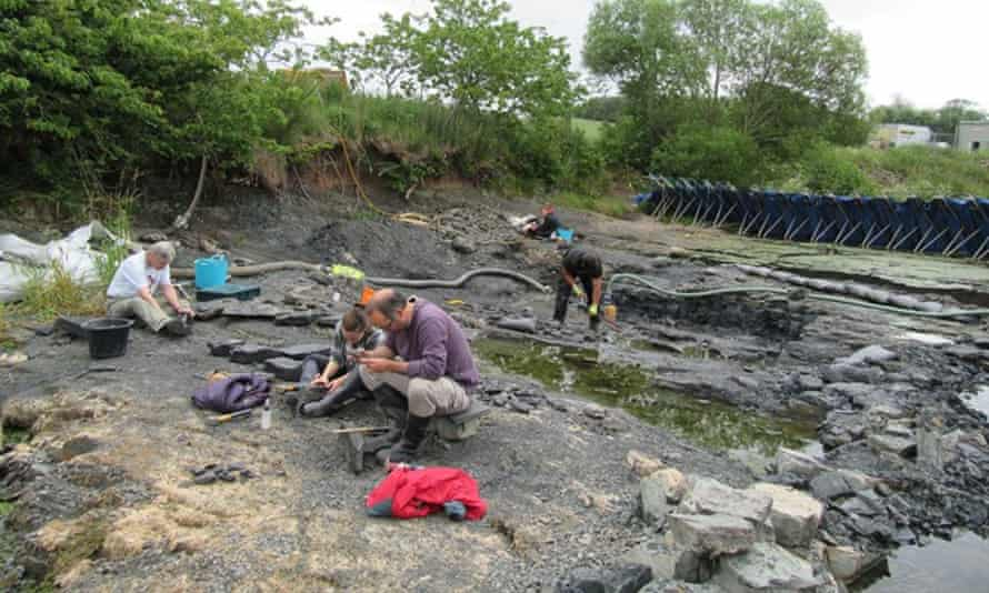 """Field work in the Scottish borders on rocks from """"Romers Gap""""."""