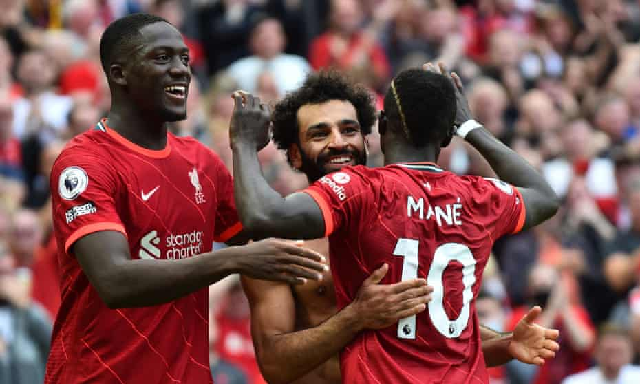 Mohamed Salah celebrates scoring against Crystal Palace with Ibrahima Konaté and Sadio Mané in Liverpool's 3-0 win on 18 September