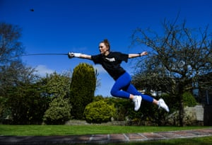 Irish modern pentathlete Sive Brassil during a training session at her home in Ballinasloe, Galway.