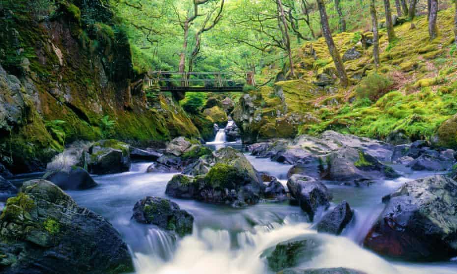 River flowing over rocks, Afon Goedol in Snowdonia.