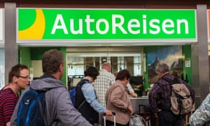 Queueing for car rental at the offices in the arrivals hall at Tenerife Sur