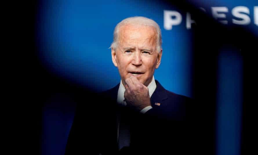Joe Biden at his transition headquarters in Wilmington, Delaware on 24 November 2020.