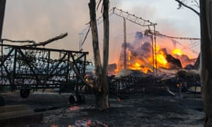 A shed burns at the entrance to Freeling in South Australia on Wednesday.
