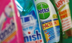 Products produced by Reckitt Benckiser; Vanish, Finish, Dettol and Harpic.